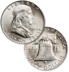 [photo: The obverse of the Franklin half dollar features Ben Franklin, while the famous Liberty Bell is shown on the reverse.]