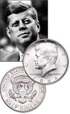 [photo: Production of Kennedy half dollars was underway just two months after President Kennedy's assassination.]