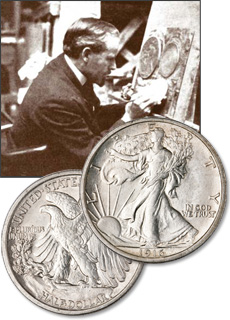 [photo: The Liberty Walking half dollar obverse design was created by renowned New York sculptor Adolph A. Weinman.]