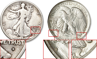 [photo: The mint mark was first located below the motto IN GOD WE TRUST (left). Then, in 1917, it was moved to the reverse (center). The designer's initials are also on the reverse (far right).]