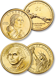 [photo: America's golden dollar series, the Native American and Presidential dollars]