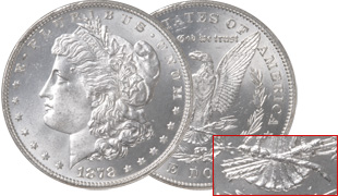 [photo: 1878 Morgan Dollar, 7 Over 8 Tail Feathers Reverse]