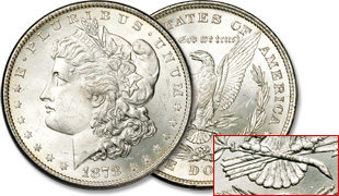 1878 Morgan Dollar, 8 Tail Feathers Reverse