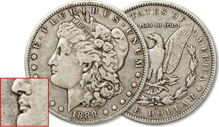 [photo: 1888‑O 'Hot Lips' Morgan Dollar]