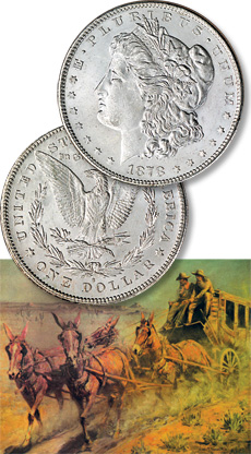 [photo: Morgan silver dollars were first minted in 1878, during the heyday of the Wild West. ]