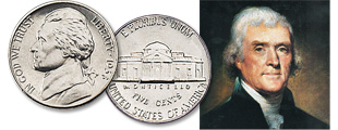 [photo: Thomas Jefferson, author of the Declaration of Independence, is featured on the Jefferson nickel.]