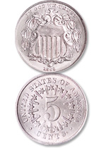 [photo: The short-lived Shield nickels With Rays (above) were replaced during 1867 by the Without Rays variety.]