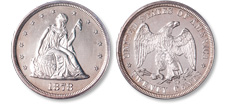 [photo: silver twenty-cent piece designs]