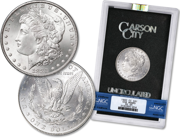 [photo: Morgan silver dollar in GSA holder]