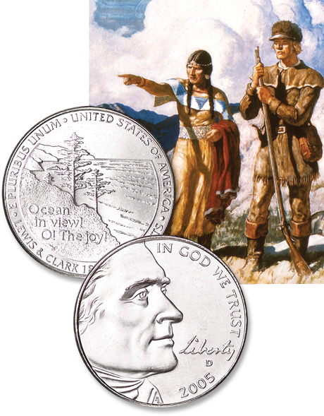 [photo: Jefferson nickels of the Westward Journey series]
