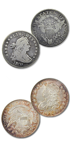 [photo: The Draped Bust (above) and Capped Bust quarters, featuring Liberty on the obverse, were minted only in Philadelphia.]