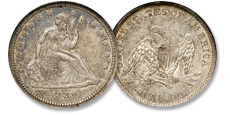 [photo: Liberty Seated silver quarters were issued for over 50 years, through the Civil War era and the nation's expansion into western territories.]