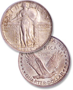 [photo: This later Standing Liberty quarter design replaced the earlier controversial depiction of Liberty.]