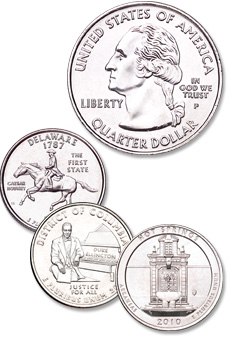 [photo: The original Washington obverse design was modified slightly to accommodate wording previously shown on the reverse. Each unique reverse design is minted only for about ten weeks.]