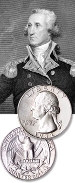 [photo: The Washington quarter, issued since 1932, was intended to be a one-year-only commemorative.]