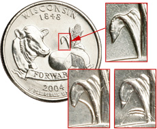 [photo: Wisconsin quarter design, with High Leaf and Low Leaf errors below.]