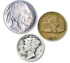 [photo: Buffalo Nickel, Flying Eagle Cent and Mercury Dime]