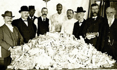 [photo: 1.6 million dollars worth of destroyed paper currency at the U.S. Treasury]