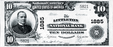 [photo: Large-size Littleton National Bank Note]