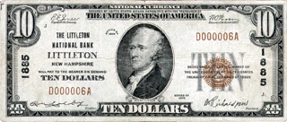 [photo: Small-size Littleton National Bank Note]