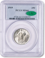 [photo: Standing Liberty quarter, certified and encapsulated by PCGS, with CAC sticker]