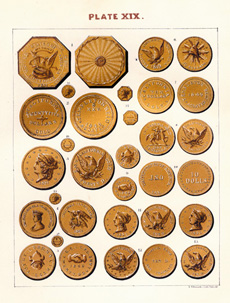 This color woodblock plate, from An American Numismatic Manual, was printed before the age of photographic reproduction.