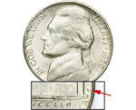 [photo: The D mint mark on a 1950 Nickel signifies a scarce, low-mintage coin.]