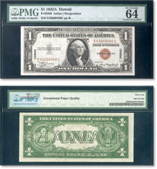 [photo: Choice Uncirculated Hawaii $1 Silver Certificate emergency note]