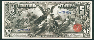 [photo: Series 1896 $5 Educational Silver Certificate]