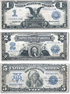 [photo: Type set of Series 1899 $1, $2 and $5 Silver Certificates]