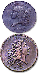 [photo: Copper-nickel coinage. Liberty Cap Left half cent; Flowing Hair, Wreath Reverse large cent]
