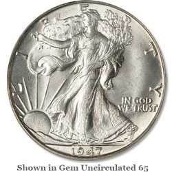 1947-D Liberty Walking Half Dollar
