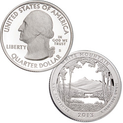 2013-S 90% Silver White Mountain National Forest Quarter