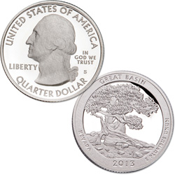 2013-S 90% Silver Great Basin National Park Quarter