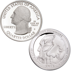 2013-S 90% Silver Mount Rushmore National Memorial Quarter