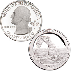 2014-S 90% Silver Arches National Park Quarter