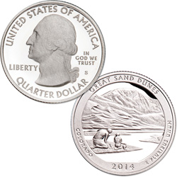2014-S 90% Silver Great Sand Dunes National Park Quarter