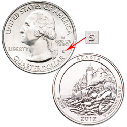 2012-S Unc. Acadia National Park Quarter