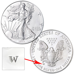 2013-W Burnished American Eagle Silver Dollar