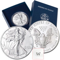 2014-W Burnished American Eagle Silver Dollar