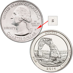 2014-S Unc. Arches National Park Quarter