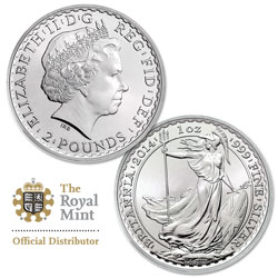 2014 Great Britain 1 oz. Silver £2 Britannia