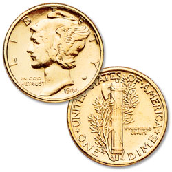 Gold-Plated Mercury Dime