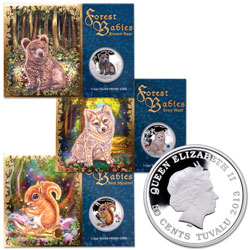 2013 Tuvalu 1/2 oz. Silver Forest Babies - Wolf, Squirrel, Bear
