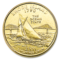 2001 Gold-Plated Rhode Island Statehood Quarter