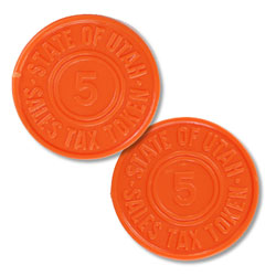 Utah 5 Mill Orange Plastic State Tax Token