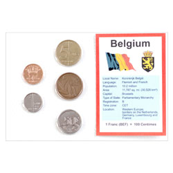 Belgium Coins in Display Card