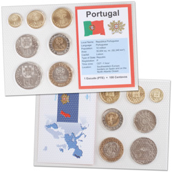 Portugal Coins in Display Card