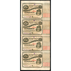 1880s Uncut Sheet of Four $5 State of Louisiana Red-Serials Bonds