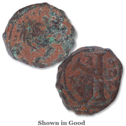 A.D. 582-602 Maurice Tiberius Byzantine Coin, Copper